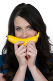Woman with a banana Royalty Free Stock Photo