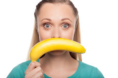Woman with banana. Royalty Free Stock Photo