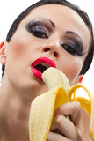 Woman with banana Royalty Free Stock Photo