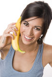 Woman Smile yellow fruit banana playing telephone Stock Photography