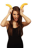 The woman with bananas Royalty Free Stock Photos