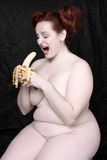 Woman with bananas Stock Images
