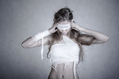 Woman with a bandage dressings Stock Photography
