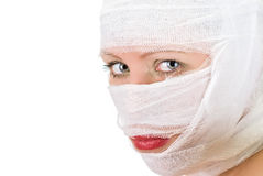 Woman with bandages Royalty Free Stock Image