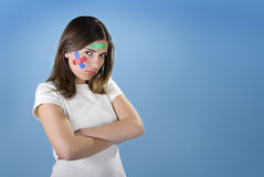 Woman with bandages Stock Images
