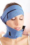 Woman with bandages after plastic stock images