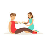 Woman bandaging the hand of the injured man, first aid vector Illustration. On a white background royalty free illustration