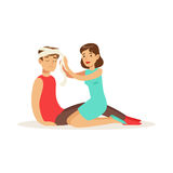 Woman bandaging the head of the injured man, first aid vector Illustration. On a white background Stock Photo