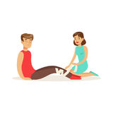 Woman bandaging the leg of the injured man, first aid vector Illustration. On a white background Royalty Free Stock Photo