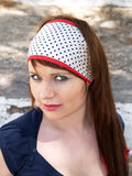 Woman with bandanna. Portrait of a beautiful woman with white bandanna Royalty Free Stock Image