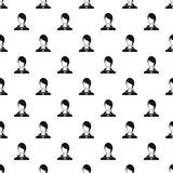 Woman with bangs avatar pattern, simple style Stock Image