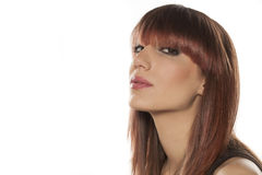 Woman with bangs Stock Images