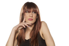 Woman with bangs Royalty Free Stock Photos