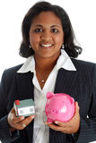Woman With Bank Stock Photo