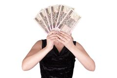 Woman with bank notes Royalty Free Stock Image