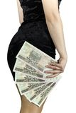 Woman with bank notes Royalty Free Stock Photos