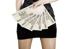 Woman with bank notes Stock Photos