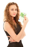 Woman with banknote smiling Royalty Free Stock Images