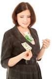 Woman with banknotes Stock Photos