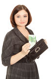 Woman with banknotes smiling Royalty Free Stock Photos