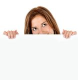 Woman with a banner Stock Photography