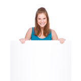 Woman with banner Stock Photo