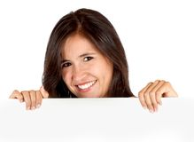 Woman with a banner Royalty Free Stock Photo