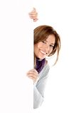 Woman with a banner Royalty Free Stock Images