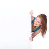 Woman with banner Royalty Free Stock Photo