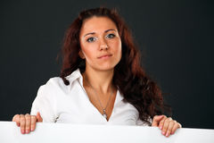 Woman with Banner. Royalty Free Stock Images