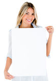 Woman with a banner Royalty Free Stock Image