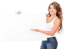Woman with a banner Stock Images