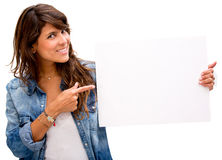 Woman with a banner Stock Photos