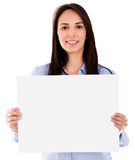 Woman with a banner Stock Image