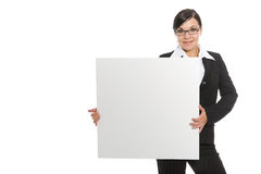 Woman with banner Royalty Free Stock Photography