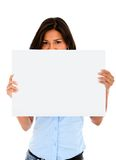 Woman with banner ad Stock Images