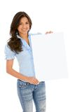 Woman with banner ad Royalty Free Stock Images