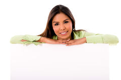Woman with a banner ad Stock Image