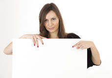 Woman banner add. Woman holding a banner add Royalty Free Stock Photo