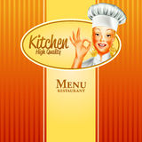 Woman banner high quality kitchen Stock Images