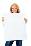 Woman with banner isolated Royalty Free Stock Images