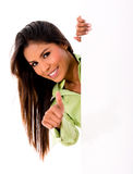 Woman with banner and thumbs up Royalty Free Stock Images