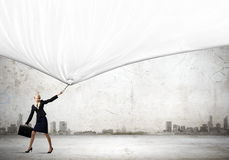 Woman with banner Stock Photos
