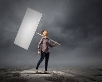 Woman with banner Royalty Free Stock Photos