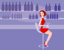 Woman in bar Royalty Free Stock Photography