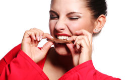 Woman and bar of chocolate Stock Photo