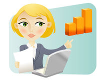 Woman with a bar graph. Blonde woman with a bar graph and a computer Stock Images