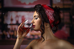 Woman  in bar Royalty Free Stock Photos