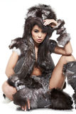 Woman in barbarian costume Stock Photos