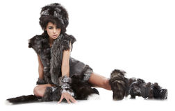 Woman in barbarian costume Stock Image